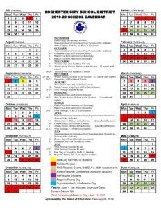 Honeoye Falls Ny December 2020 Calendar 2019 20 School Calendar | rochesterteachers.org