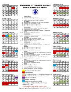 2019 2020 At A Glance School Calendar (revised 4/25/19